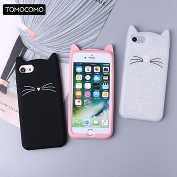 Cute 3D Silicone Cartoon Cat Pink Black Glitter Soft Phone Case Cover Coque Fundas For iPhone 7 7Plus 6 6S 6Plus 5 5S  8 8plus