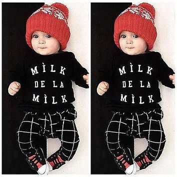 Cute Newborn Baby Boys Girls Organic Plaid Tops T-shirt+Pants Outfits Set Clothes 0-24M