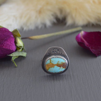 She-Bear Stacker / Natural Blue Royston Turquoise & Sterling Silver Ring / Stacking Ring / Boho Jewelry / Bohemian Style / Size 5 3/4