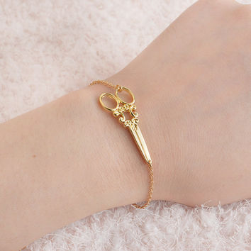 Gold Plated Scissors Bracelets Silver Shears Clippers Bangles Retro Pulseras Vintage Gift For Women Fashion Wristband Jewelry