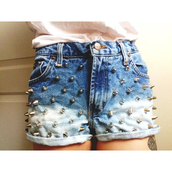 Denim Faded High Waisted L.e.i. Cutoffs Vintage Small/3 (Studded/Dyed)