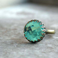 light catcher   Adjustable Ring aqua teal by picturing on Etsy