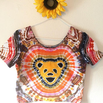 Grateful Dead Tie Dye Crop Top Size L