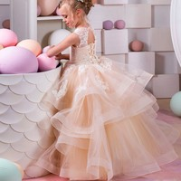 champagne flower girl dresses lace party dress for girls kids pageant ball gown for girls size 8 12 children graduation gown