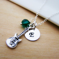 Guitar Music Charm Swarovski Birthstone Initial Personalized Sterling Silver Necklace / Gift for Her