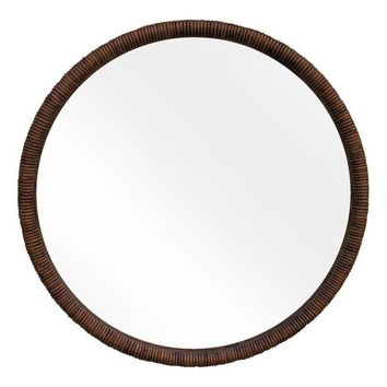 Pre-owned 1970s Caned Beveled Round Mirror