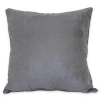 Heavy Suede with Welt Cord Throw Pillow in Pewter