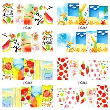 CREYHY3 12 Sheet Summer Fruit Flower Watermark Beauty Nail Art Tips Sticker Full Wraps Water Transfer Stickers Decals For Nails JH369