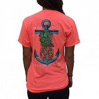 Southern Attitude Pineapple Anchor Little Sweet Little Salty Bright  T-Shirt
