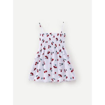 Kids Cherry Print Shirred Cami Dress