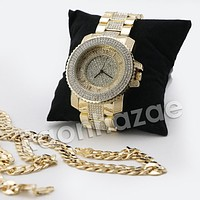 HIP HOP ICED OUT RAONHAZAE JEEZY GOLD FINISHED LAB DIAMOND WATCH CUBAN CHAIN SET4