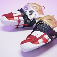 "Supreme x Nike Air More Uptempo Retro Basketball Shoes ""Black&Gold&Red""902290-002"