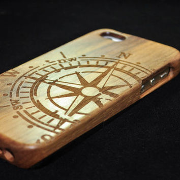 Real wood phone case,wooden iPhone 5C Case, Wood iPhone 5C Case,iPhone 5C case, For iPhone 5/5s/5c/4s Case,Engraving Compass case,Gift