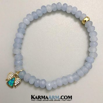 GUARDIAN ANGEL: Aquamarine | Pave Angel | Reiki Chakra Yoga Bracelet
