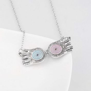 RJ Movie HP Magic School Luna Lovegood Glasses Pendants Necklaces Witch Wizard Double Hands Men Women Love Gifts Jewelry