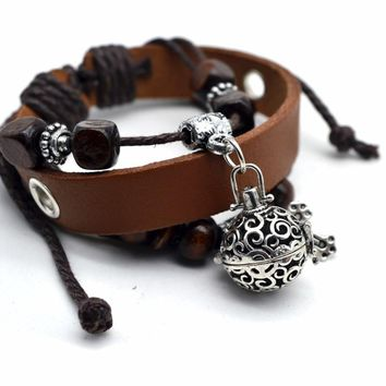 1pc Lava Essential Oil Diffusing Bracelet Aromatherapy Boho Leather Bracelets Bangle B11