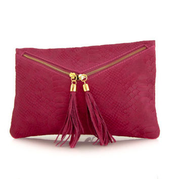 leather clutch fuchsia snake printed -.- the Envelope  -.-