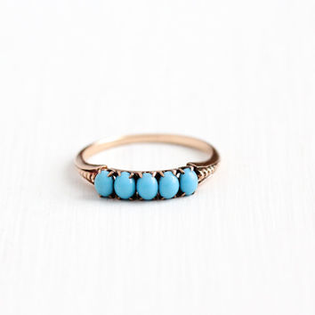 Antique 10k Rose Gold Blue Turquoise Victorian Ring - Size 10 Early 1900s Victorian Edwardian Robins Egg Blue Gemstone Band Fine Jewelry