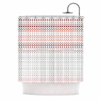 "Love Midge ""Pine Revel"" Coral Chevron Shower Curtain"