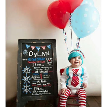 BOYS FIRST BIRTHDAY Outfit-M2M Winter Onederland Birthday-Cake Smash-Tie with Suspenders Bodysuit 3 Pc Set-M2M Dr. Suess Cat and The Hat