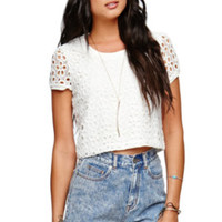 LA Hearts Textured Daisy Cropped Shirt - Womens Shirts - White - Extra Large