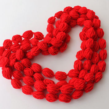CLEARANCE SALE Infinity Scarf - Red Loop Scarf Circle Scarf Cowl Scarf Bubble Scarf Neckwarmer with Removable Broche