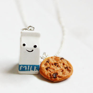 Milk and Chocolate Chip Cookie Necklace by bookmarksnrings on Etsy