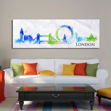 Large Wall Art Watercolor Blue and Green London City Skyline Canvas Print