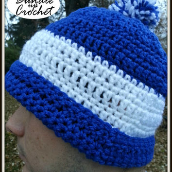 Men's Winter Hat Blue and White Hat for Boys with Puff Ball, Wide Stripe, Two Colors
