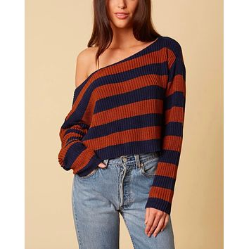 Off-the-shoulder striped cropped women's sweater - Navy