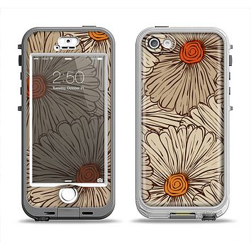 The Tan & Orange Tipped Flowers Pattern Apple iPhone 5-5s LifeProof Nuud Case Skin Set