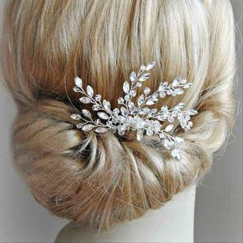 Free Shipping - Vintage Gold Silver Color Handmade Crystal Rhinestone Hair Comb For Wedding Party Hair Clip