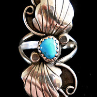 Turquoise Sterling Silver Ring Sleeping Beauty Southwest Tall sz 8