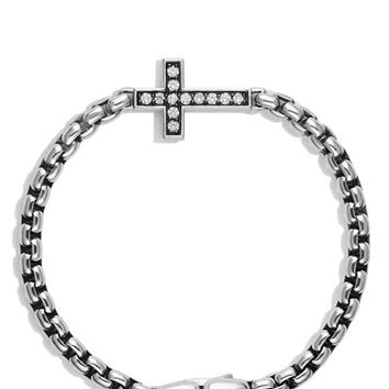 Men's David Yurman Pave Diamond Cross Station Bracelet - Diamond