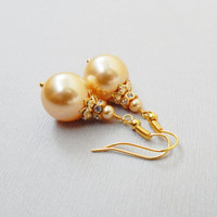 Classic wedding bride bridesmaid gold golden pearl dangle drop earrings Swarovski crystal rhinestone encrusted