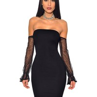 Selah Black Strapless Mesh Off Shoulder Sleeve Stretch Crepe Dress