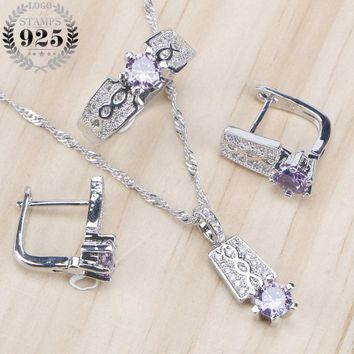 Zirconia Bridal Women Jewelry Sets Stone Earrings Wedding 925 Sterling Silver Jewelry With Ring Pendant Necklace Set Gift Box