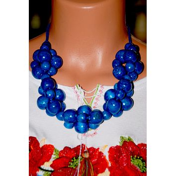 Artisan crafted wood beads. Blue