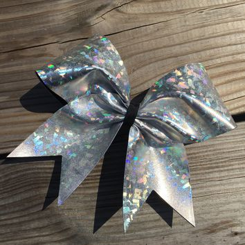 Silver holographic metalic bow