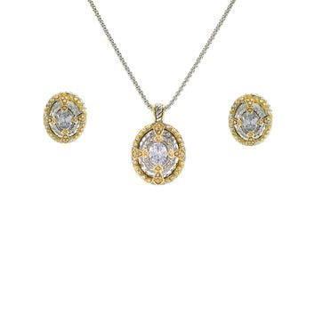 14K Yellow Gold and White Oval Cut Pendant and Earring Set