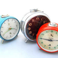 Set of 3 Vintage Antique ALARM CLOCKS Turquoise Red by ckecher