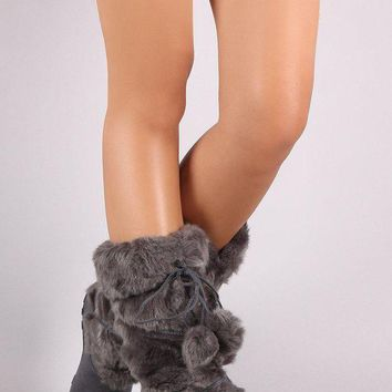 DCK7YE Faux Fur Strappy Pom Pom Suede Mid Calf Boots