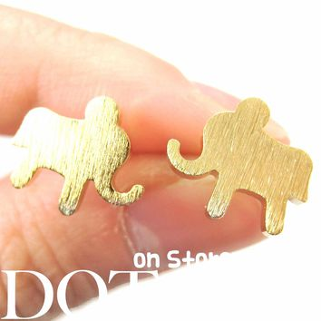 Elephant Silhouette Animal Stud Earrings in Gold with Sterling Silver Earring Posts