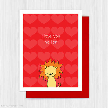 Funny Valentine Card Valentines Day Romantic Pun Cute I Love You Love Lion For Boyfriend Husband Girlfriend Wife Fun Handmade Greeting Cards