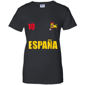Espana Spain Football Soccer T-shirt with Number 10 on Back