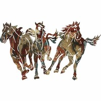 Lazart Production STAM30WRF Stampede Horses Running Rusticfusion Steel Wall Art