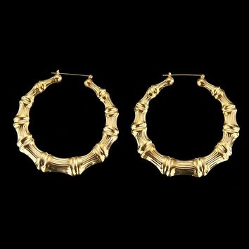 Large Bamboo Earrings Hip-Hop Gold Silver Hoops Bling Circle 9cm