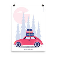 Take the Scenic Route Art Print, Travel Print, Volkswagon Print, Travel Quote, Pink Blue, Travel Wall Art, Home Decor, 12x16