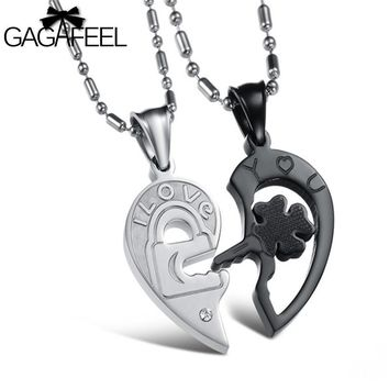 GAGAFEEL Black Necklace Stainless Steel Fine Jewelry For Men Couples Clover Key Pendant Necklacs Lovers Gifts Vintage N845