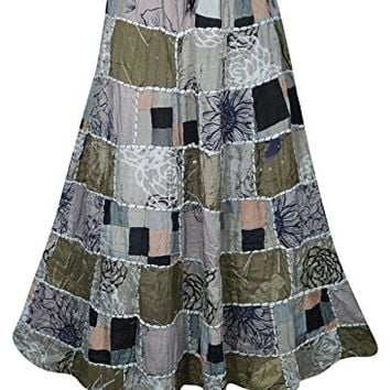 Mogul Interior Womens Patchwork Skirts Mystic Mojo Vintage Indian Inspired Ethnic Printed Long Skirts